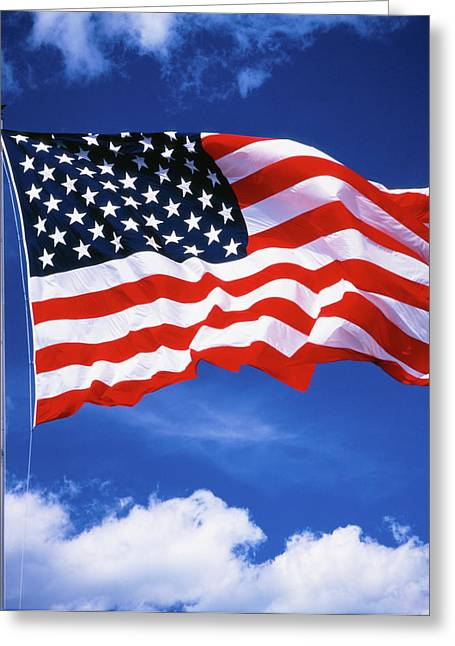 1980s American Flag Sky And Clouds Greeting Card