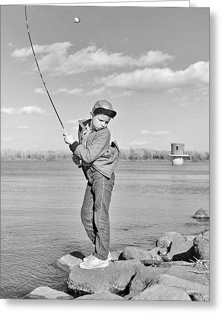 1980s Boy Fishing On Riverbank Greeting Card