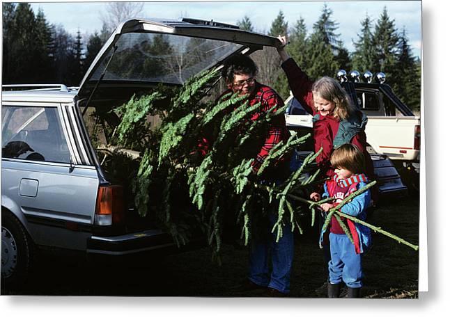 1980s Family Christmas Tree Car Greeting Card