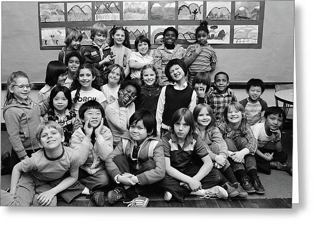 1980s Group Portrait Of Grade School Greeting Card
