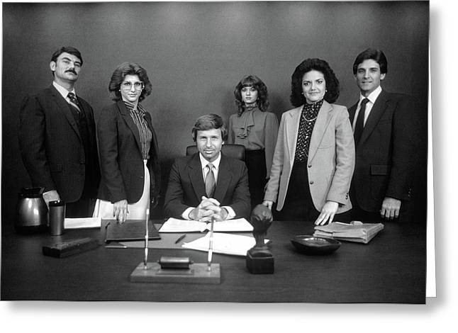 1980s Group Portrait Of Office Staff Greeting Card