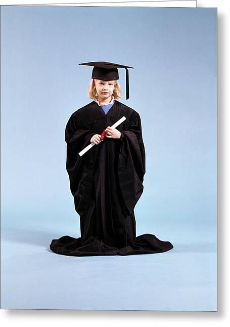 1980s Little Girl Wearing Too Big Greeting Card