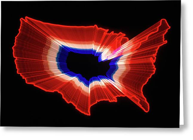 1980s Luminous Zoomed Red White Greeting Card