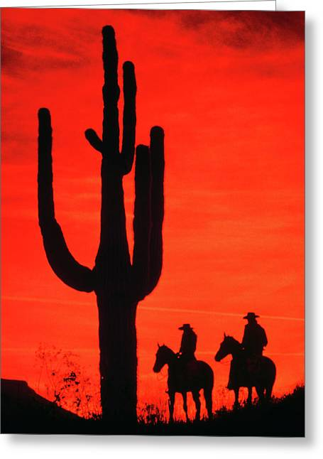 1980s Silhouette Two Anonymous Cowboys Greeting Card