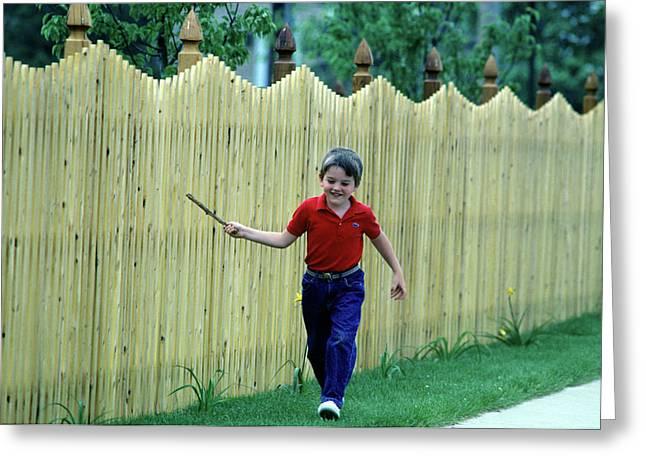1980s Smiling Boy Running Greeting Card