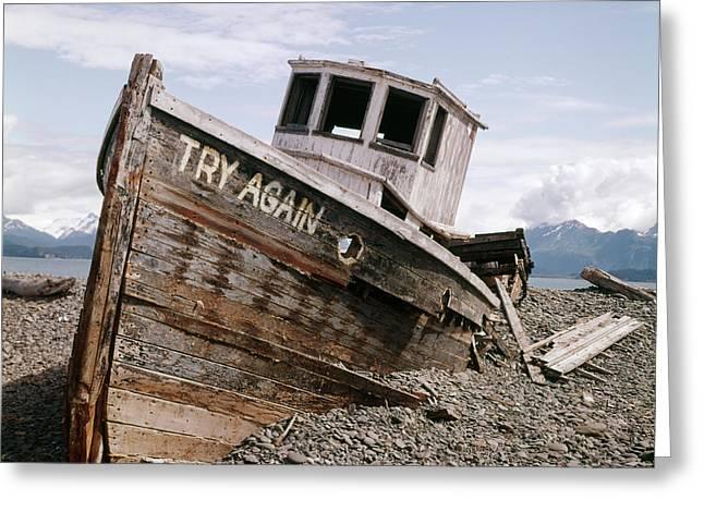 1980s Try Again Boat Wreck Homer Alaska Greeting Card