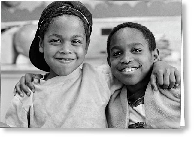 1980s Two African American Boys Smiling Greeting Card