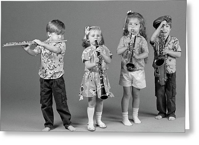 1980s Two Boys And Two Girls Playing Greeting Card