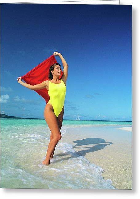 1980s Woman Wearing Yellow Bathing Suit Greeting Card