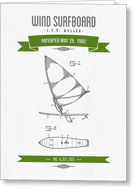 1982 Wind Surfboard Patent Drawing - Retro Green Greeting Card by Aged Pixel