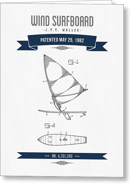 1982 Wind Surfboard Patent Drawing - Retro Navy Blue Greeting Card by Aged Pixel