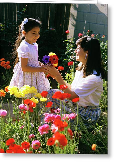 1985 1980s Daughter Giving Mother Greeting Card