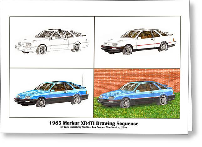 1985 Merkur Xr4ti Drawing Sequence Greeting Card by Jack Pumphrey
