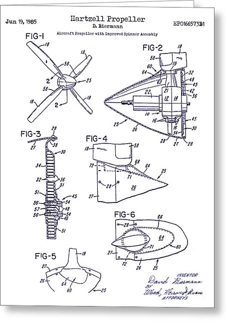 1985 Propeller Patent Blueprint Greeting Card by Jon Neidert