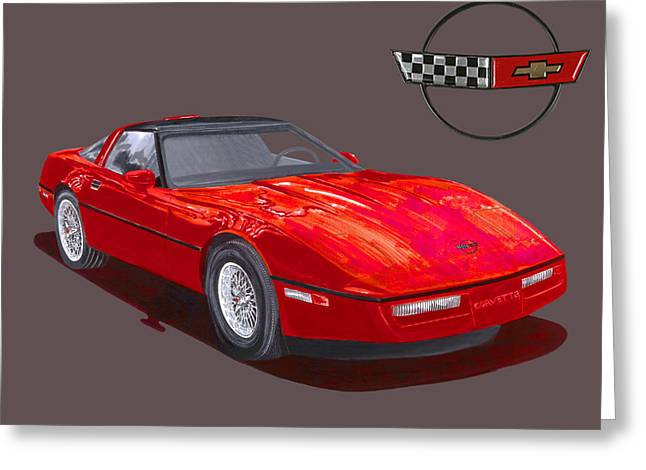 1986 Corvette Greeting Card by Jack Pumphrey