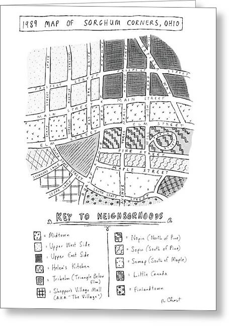 1989 Map Of Sorghum Corners Greeting Card by Roz Chast
