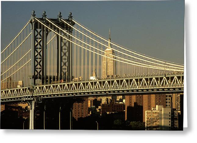 1990s Manhattan Bridge And Empire State Greeting Card