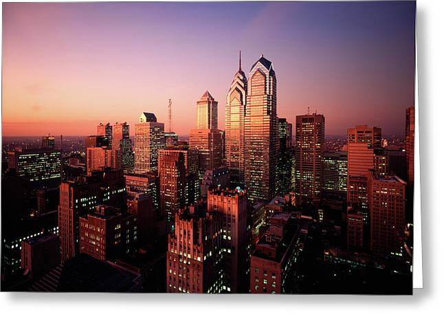 1990s Skyline From South At Twilight Greeting Card