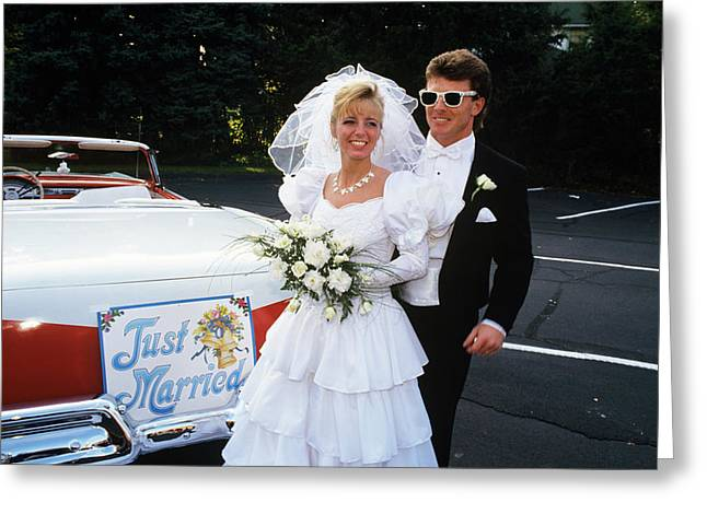 1991 Bride And Groom Standing Next Greeting Card
