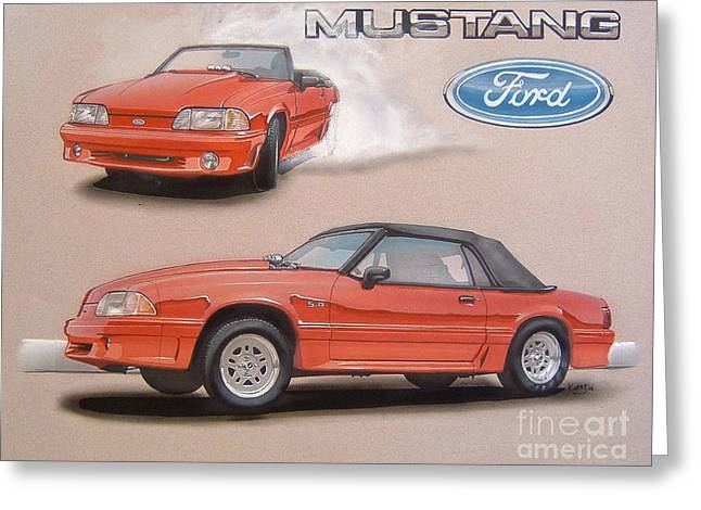 1991 Ford Mustang Greeting Card by Paul Kuras