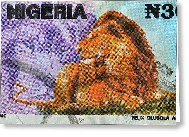 1993 Nigerian Lion Stamp Greeting Card by Bill Owen