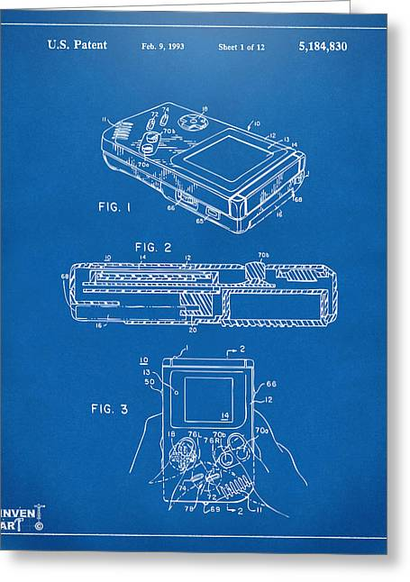 1993 Nintendo Game Boy Patent Artwork Blueprint Greeting Card by Nikki Marie Smith