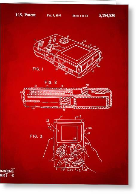1993 Nintendo Game Boy Patent Artwork Red Greeting Card