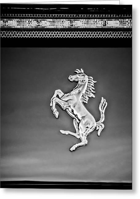 1997 Ferrari F 355 Spider Taillight Emblem -135bw Greeting Card by Jill Reger