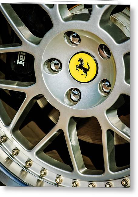 1997 Ferrari F 355 Spider Wheel Emblem -125c Greeting Card by Jill Reger