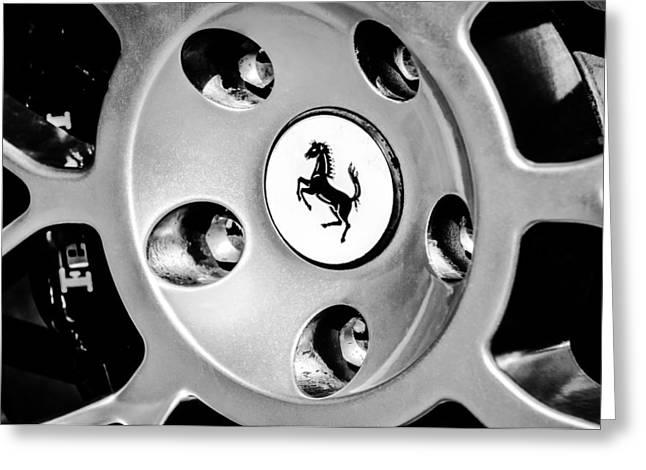 1997 Ferrari F 355 Spider Wheel Emblem -201bw Greeting Card by Jill Reger