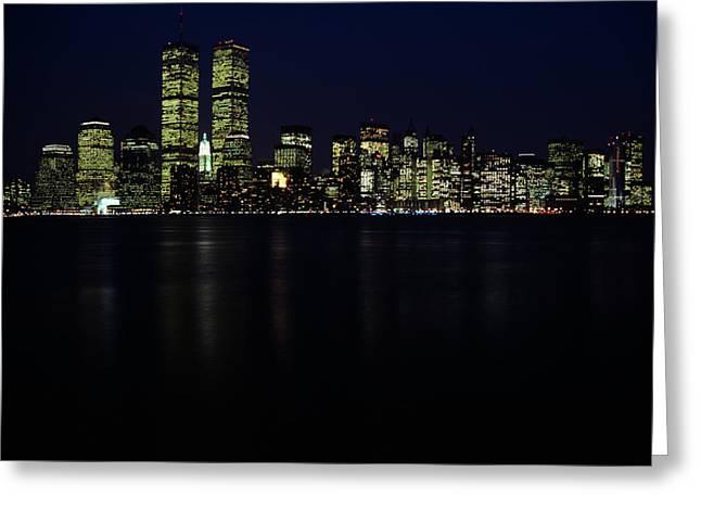 199os Skyline New York City Ny Downtown Greeting Card