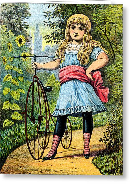19th C. Girl And Her Tricycle Greeting Card by Historic Image