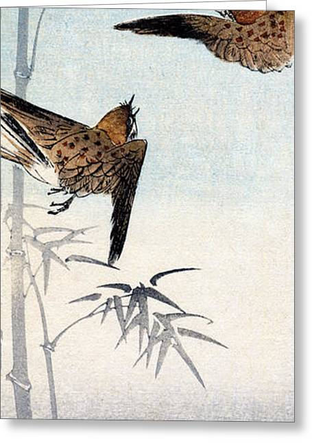 19th C. Japanese Sparrows Greeting Card by Historic Image