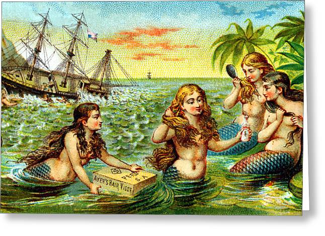 19th C. Mermaids At Ship Wreck Greeting Card by Historic Image
