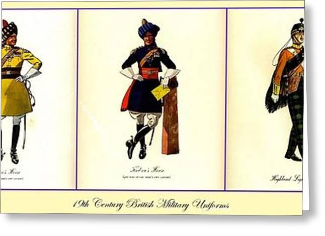 19th Century British Military Uniforms Greeting Card