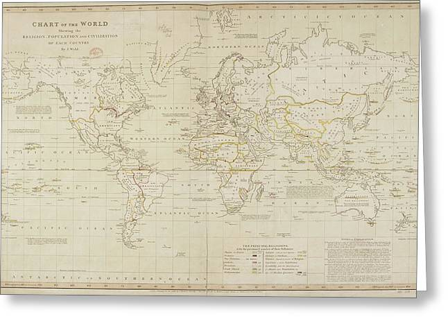 19th Century Demographic Map Of The World Greeting Card by British Library