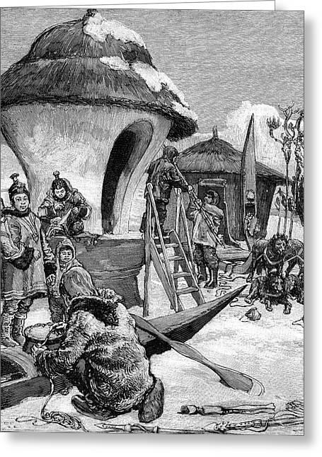 19th Century Eskimo Village Greeting Card