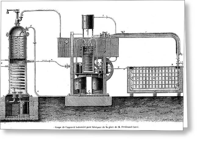 19th Century Ice-making Machine Greeting Card by Collection Abecasis/science Photo Library
