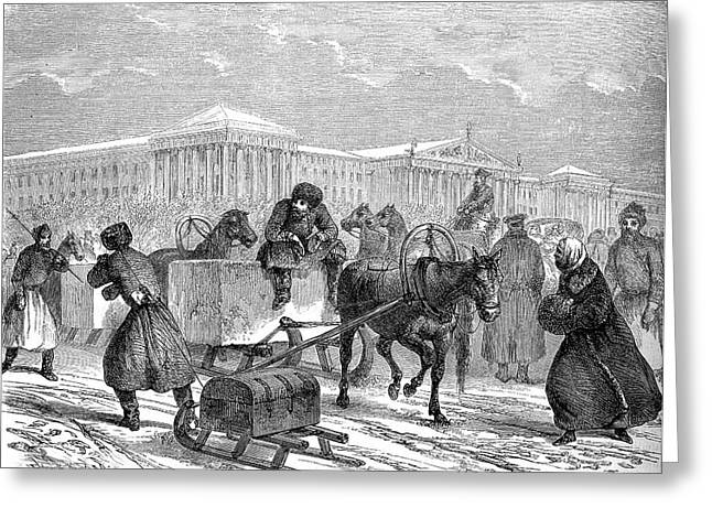 19th Century Ice Transportation Greeting Card