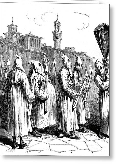 19th Century Italian Penitents Greeting Card
