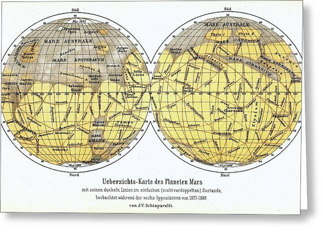 19th Century Map Of Mars Greeting Card by Detlev Van Ravenswaay