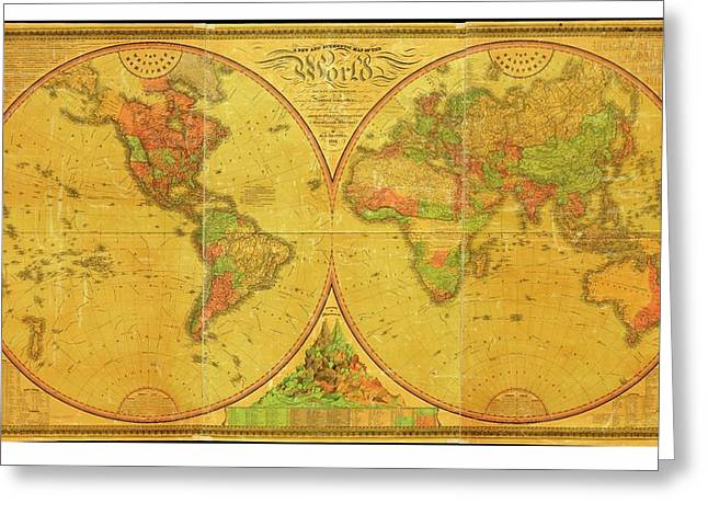 19th Century Map Of The World Greeting Card by American Philosophical Society