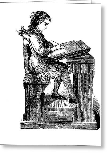 19th Century School Desk Back Support Greeting Card by Bildagentur-online/tschanz