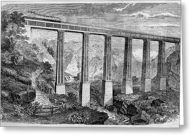 19th Century Swiss Rail Bridge Greeting Card