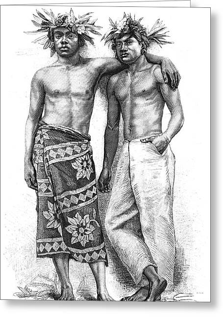 19th Century Tahitian People Greeting Card by Collection Abecasis