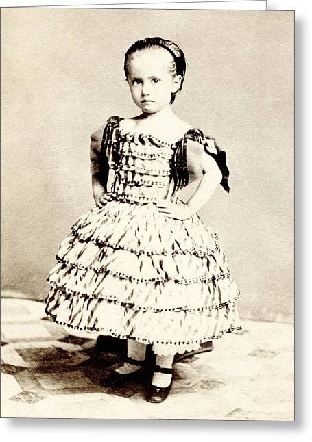 1865 Defiant American Girl Greeting Card by Historic Image