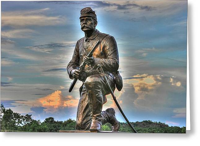 1st Pa Cavalry Regiment Cemetery Ridge Near The Copse Of Trees Evening 3rd Day Of Battle Gettysburg Greeting Card by Michael Mazaika