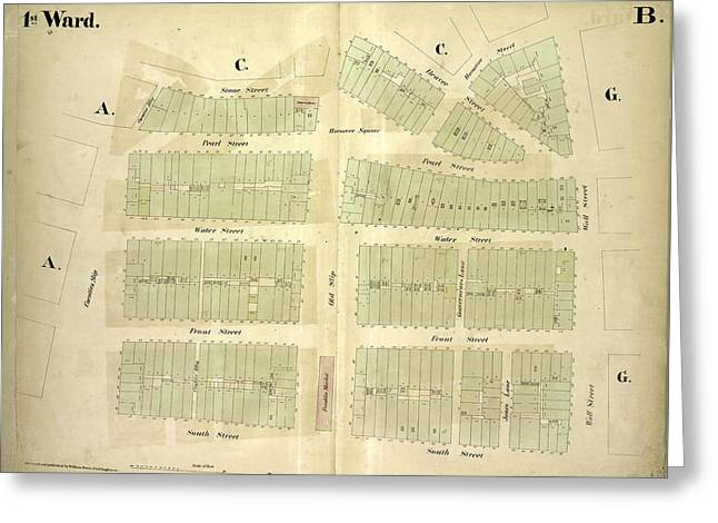 1st Ward. Plate B Map Bounded By Stone Street, Beaver Greeting Card by Litz Collection