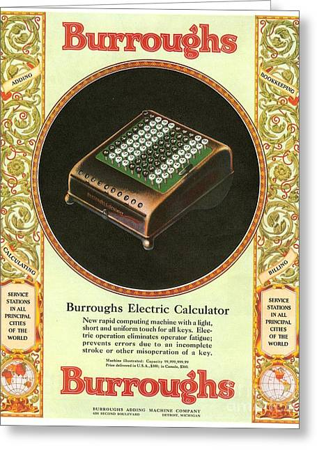 1920s Usa Equipment Burroughs Adding Greeting Card by The Advertising Archives
