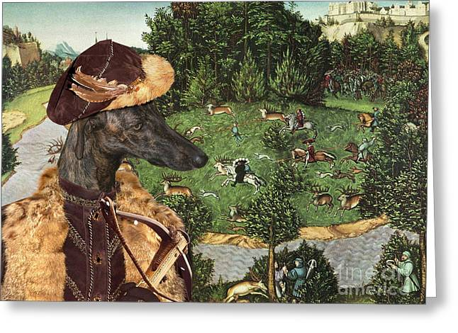 Galgo Espanol - Spanish Greyhound Art Canvas Print Greeting Card by Sandra Sij